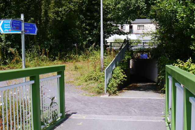 North end of Dr Williams Foot Bridge and an underpass under the Dolgellau Bypass
