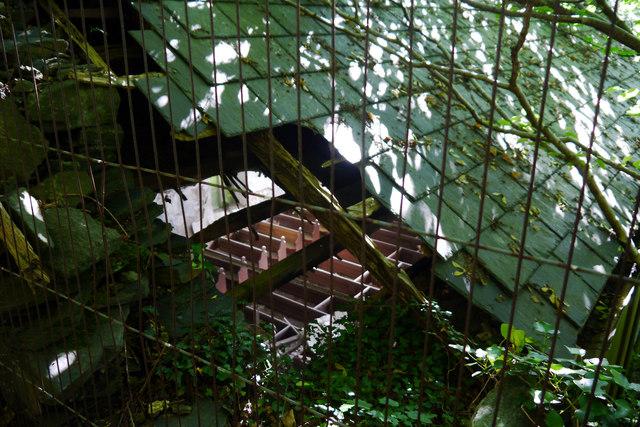 Hole in the roof of Salem Methodist (Wesleyan) Chapel, Arthog