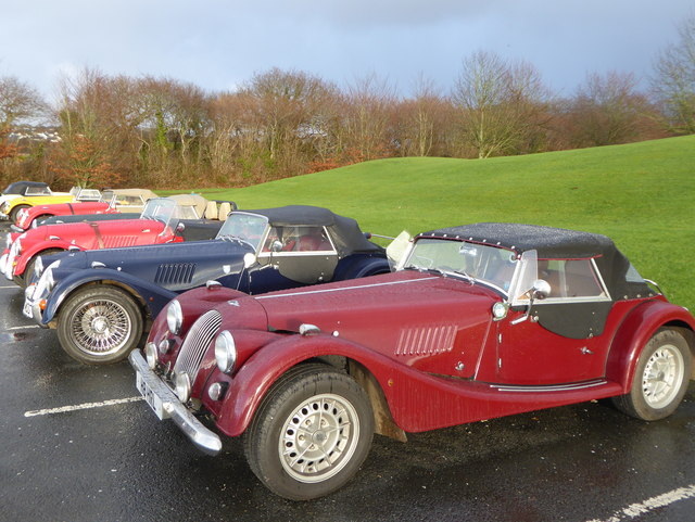 Morgan sports cars in Lanhydrock Golf Club car park