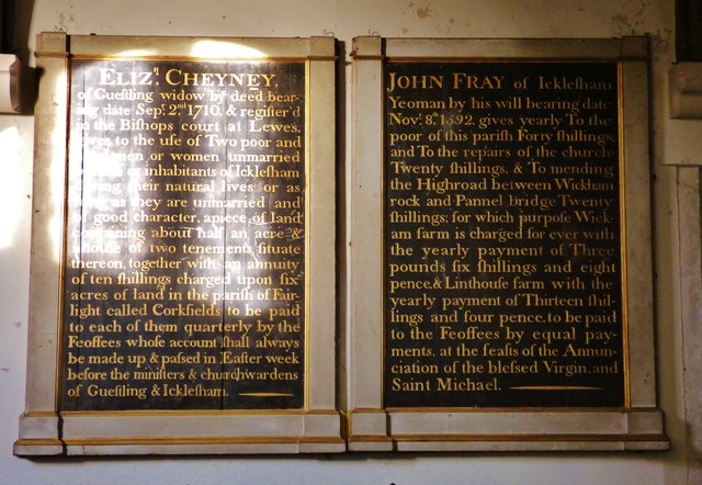 Charity boards, All Saints, Icklesham