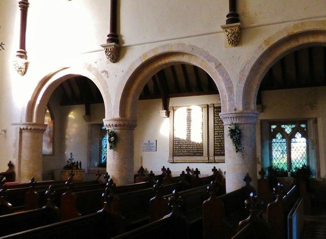Norman pillars. All Saints, Icklesham