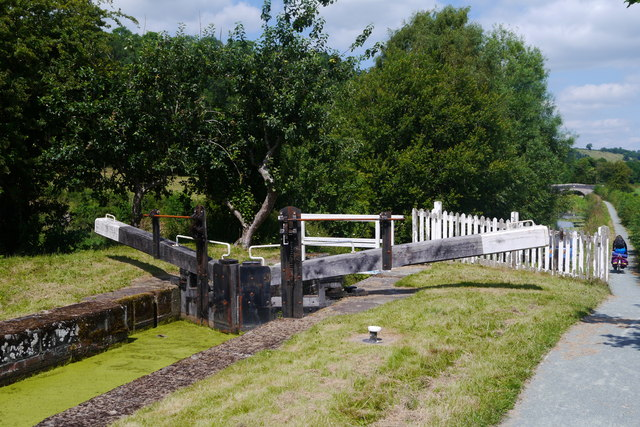 Bottom gate at Berriew Lock, Montgomery Canal