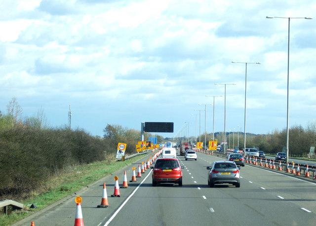 Roadworks on M1 near Hulcote