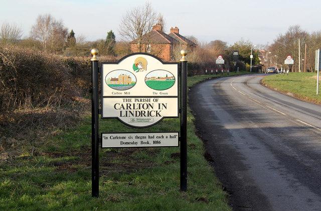 Carlton in Lindrick village sign