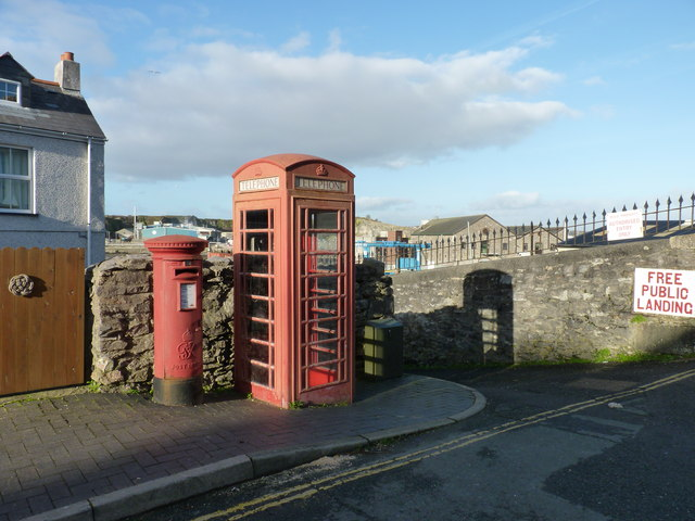 Pillar box and Telephone box in Turnchapel, near Plymouth