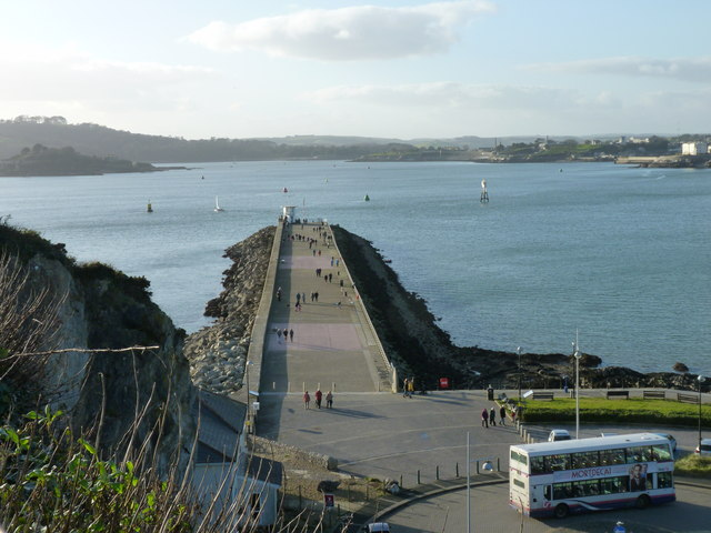 The Mount Batten breakwater, from the grounds around the Tower