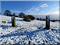 SD7411 : Gateposts in the snow by Philip Platt