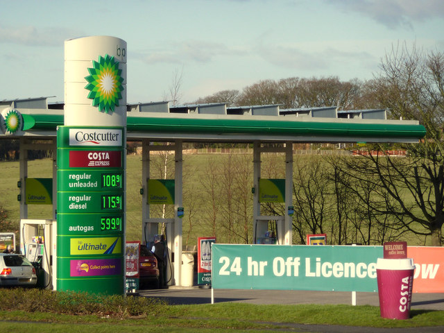 Find A Gas Station >> BP Petrol Station near M6 Junction 27,... © Gary Rogers ...