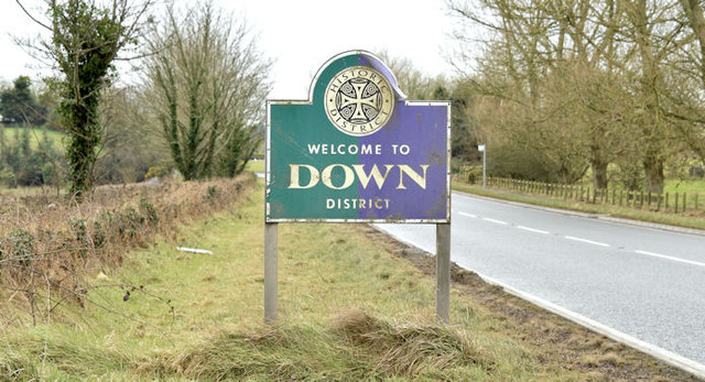 Down District boundary sign, Ballygowan/Saintfield (February 2015)