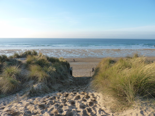 Arriving at Newquay's Fistral Beach via the dunes