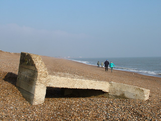 Mystery concrete item on shingle beach, Bawdsey