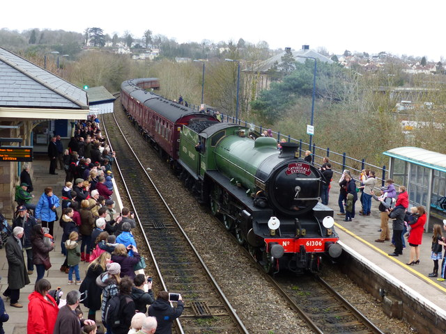 "Steam engine ""Mayflower"" 61306 about to call at Chepstow Station"