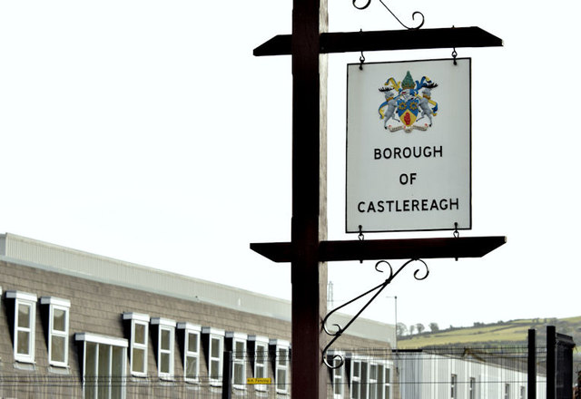 Castlereagh boundary sign, Belfast (March 2015)