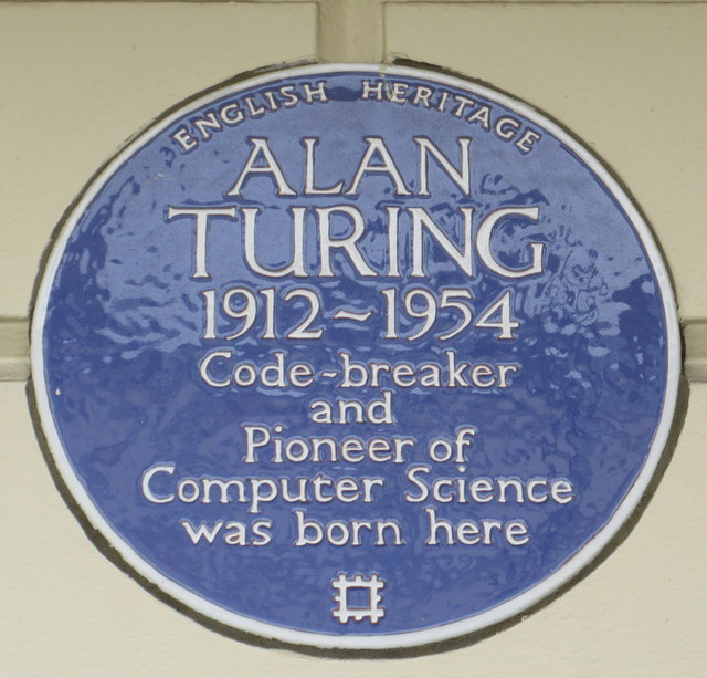 Alan Turing blue plaque - Alan Turing 1912-1954 code-breaker and pioneer of computer science was born here
