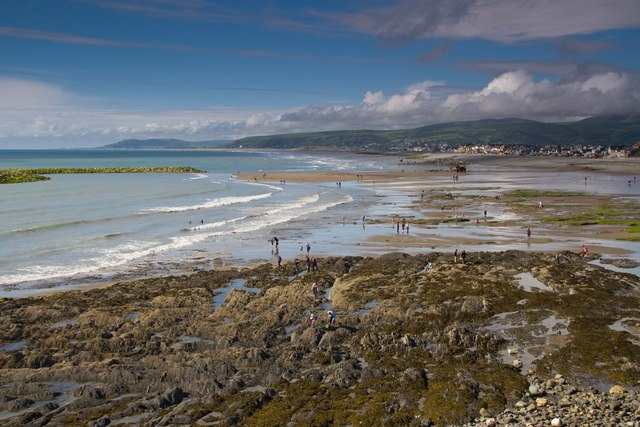 The busy beach at Borth