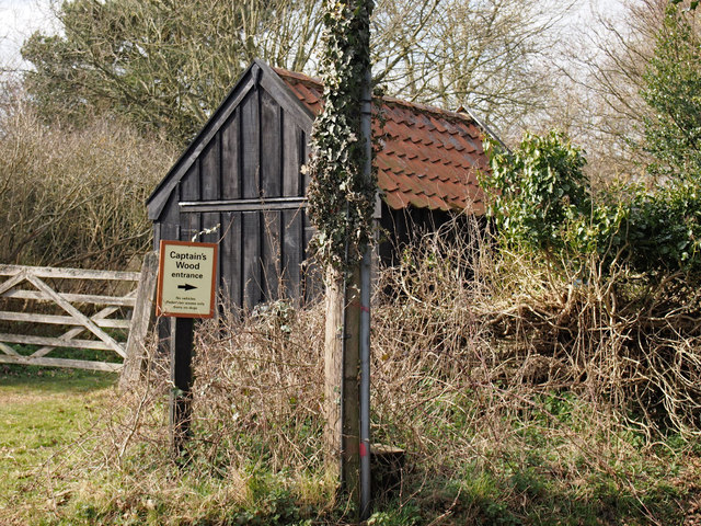 Sign to Suffolk Wildlife Trust Reserve Captain's Wood