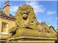 "SE1337 : Sandstone Lion ""War"" outside Saltaire Institute by David Dixon"