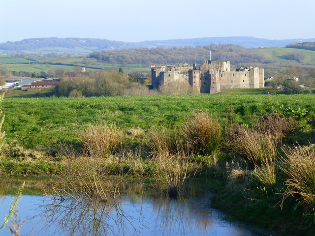 Pond at Pen-y-Parc - and Raglan Castle beyond