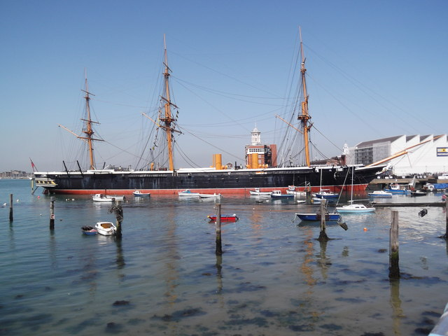 HMS Warrior from Portsmouth Harbour Railway Station