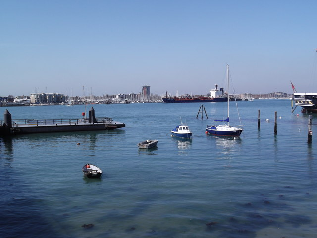 Small boats outside Portsmouth Harbour Railway Station