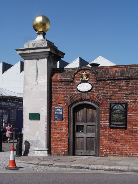 Wall and gate of Historic Dockyard, The Hard, Portsmouth