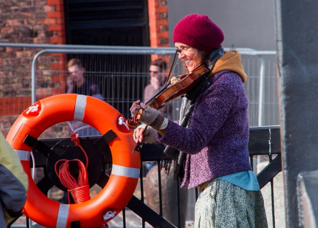 The happy busker, Liverpool