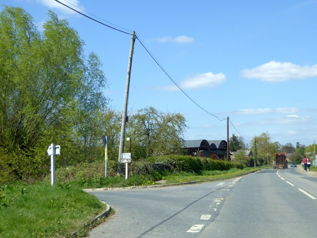 Turning for Eyton from North Road, Leominster