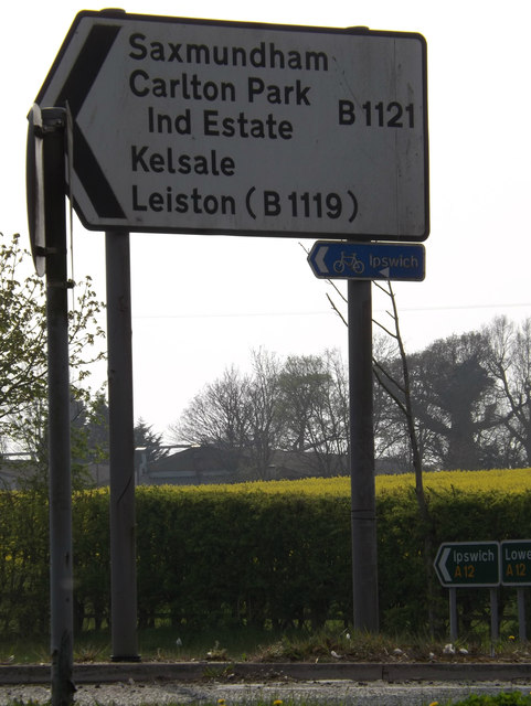 Roadsign on the B1121 Main Road