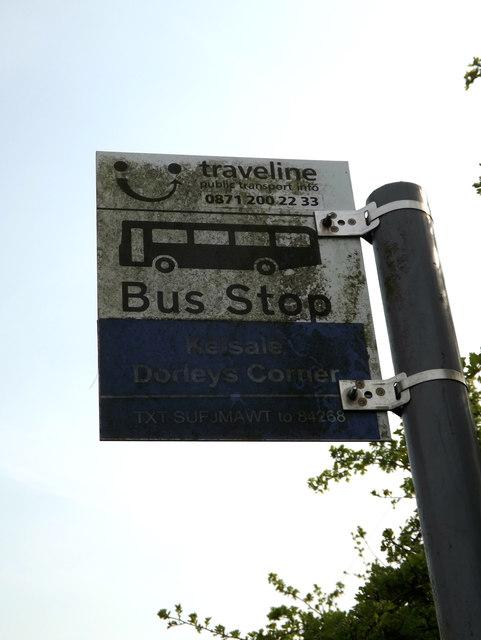 Dorleys Corner Bus Stop sign