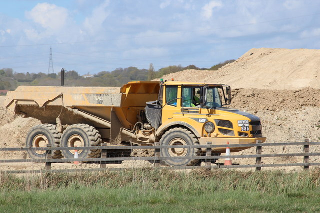 Volvo truck at Combe Valley Way construction