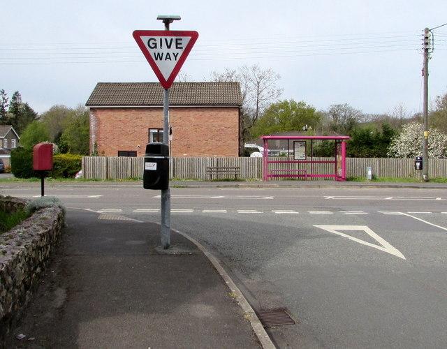 Give Way sign at the western end of Glynhir Road, Llandybie