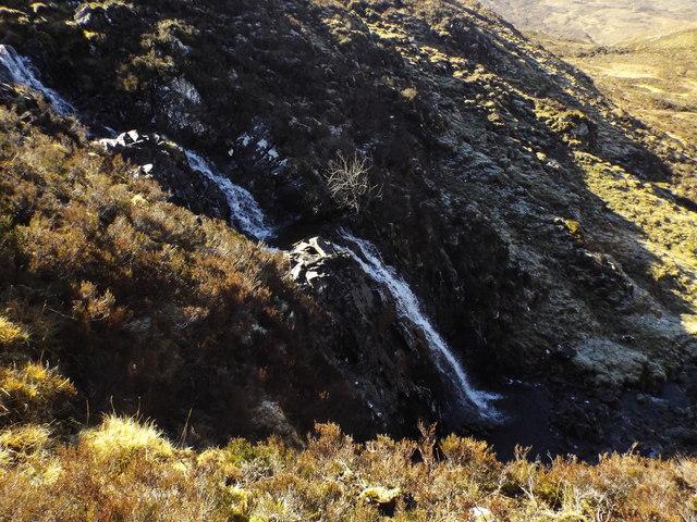 Lower waterfall on burn course near Carn na Saobhaidhe in Killilan Forest