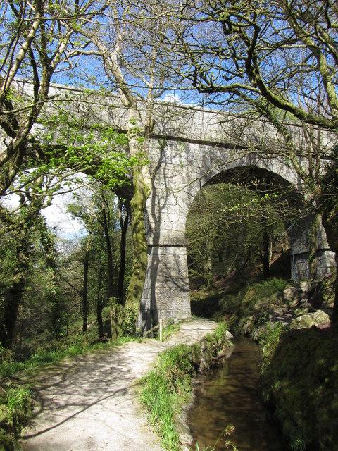 Footpath beneath Treffry Viaduct