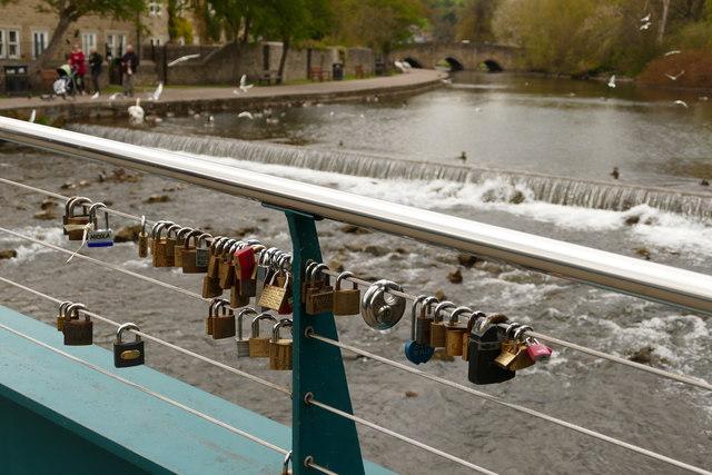 Love locks on a Bakewell footbridge