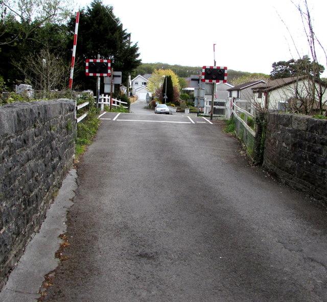Road from river bridge to level crossing, Llandybie