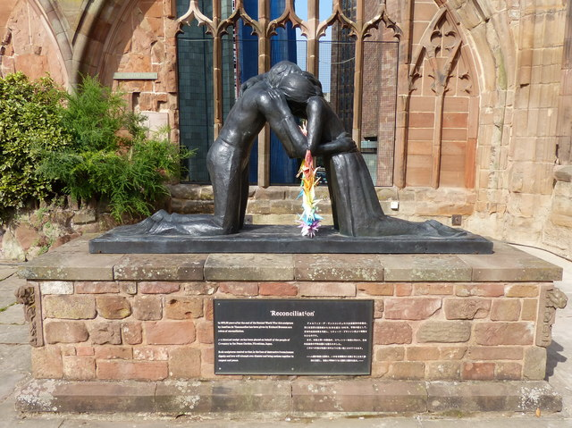 'Reconciliation' sculpture inside Coventry Cathedral