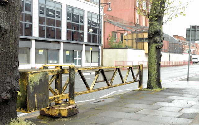 Old security barrier, Donegall Pass, Belfast (May 2015)