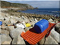 SW4223 : Flotsam on the beach at St Loy's Cove by Rod Allday