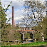SJ9398 : Viaduct and Chimney by Gerald England