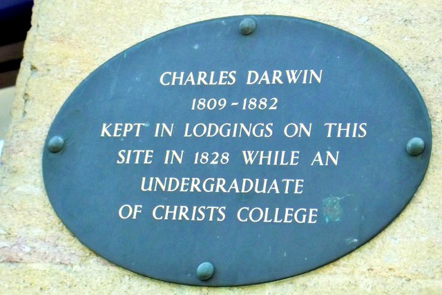 Photo of Charles Darwin black plaque