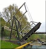 SJ9397 : Going under Dukinfield Lift Bridge by Gerald England
