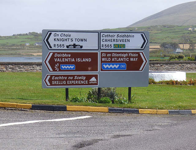 Road signage at the N70 road junction with the Valentia Island road bridge