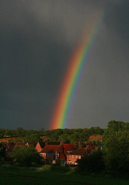 Rainbow and angry skies over Little Hoddington