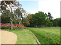 TQ0182 : Ha-ha at edge of Temple Gardens, Langley Park by David Hawgood