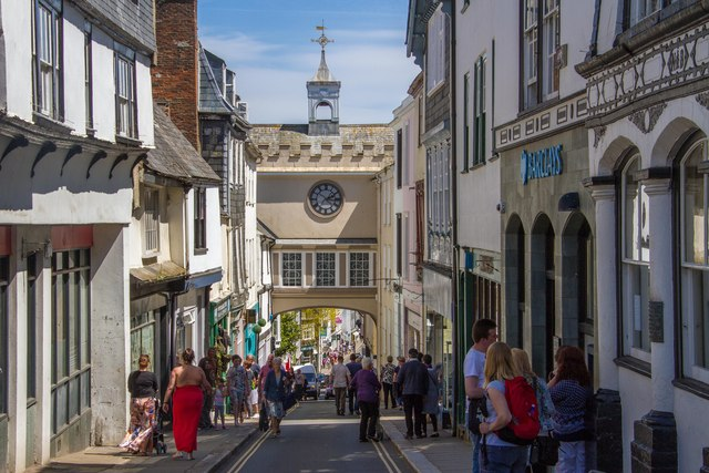 Looking down through Eastgate Arch from High Street