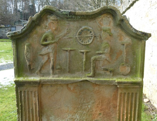 Mining Surveyors carving, Lasswade Old Kirkyard