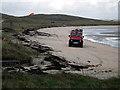 NF6905 : Fire tender on Barra airport beach by John Lucas