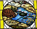 SU7433 : St.Mary's - Roundel 2 - Pond life with tortoise by Rob Farrow