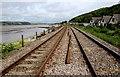 SN3609 : West Wales Line towards Ferryside railway station : Week 27