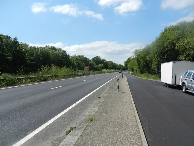 Looking west on the A27 near Crossbush